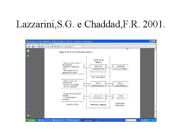 Lazzarini, S. G. e Chaddad, F. R. 2001.