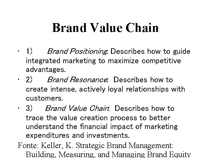 Brand Value Chain • 1) Brand Positioning: Describes how to guide integrated marketing to
