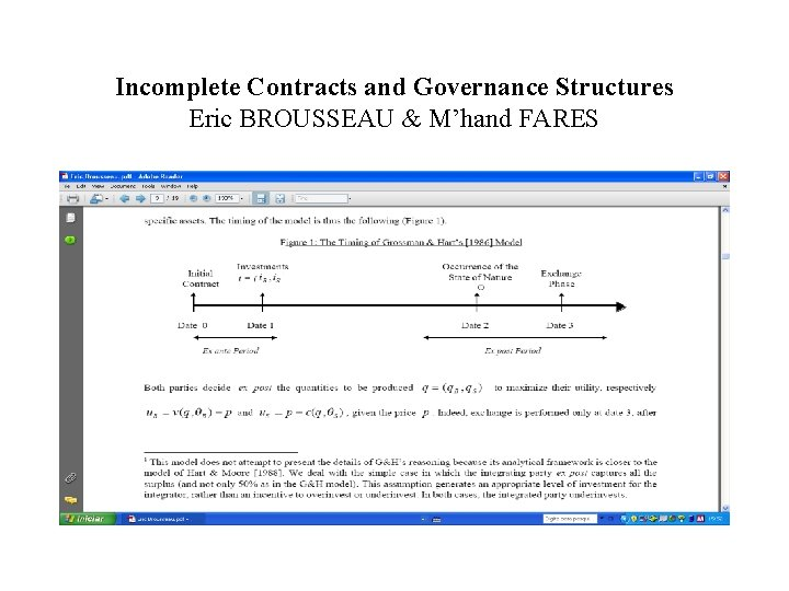 Incomplete Contracts and Governance Structures Eric BROUSSEAU & M'hand FARES