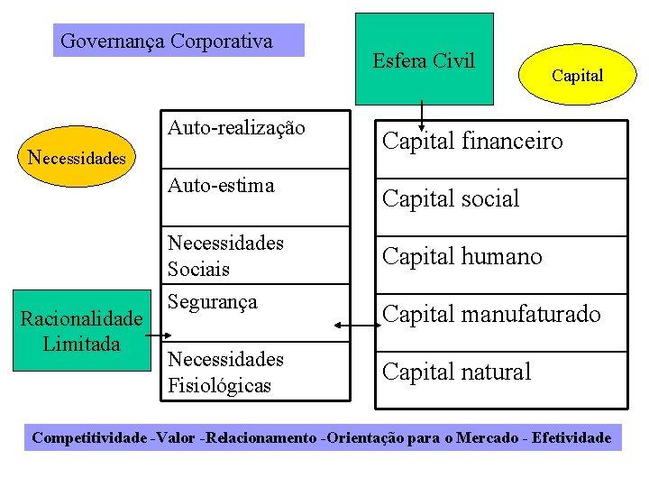 Governança Corporativa Capital Auto-realização Capital financeiro Auto-estima Capital social Necessidades Sociais Capital humano Segurança