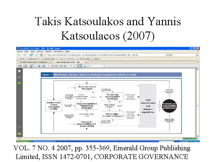 Takis Katsoulakos and Yannis Katsoulacos (2007) VOL. 7 NO. 4 2007, pp. 355 -369,