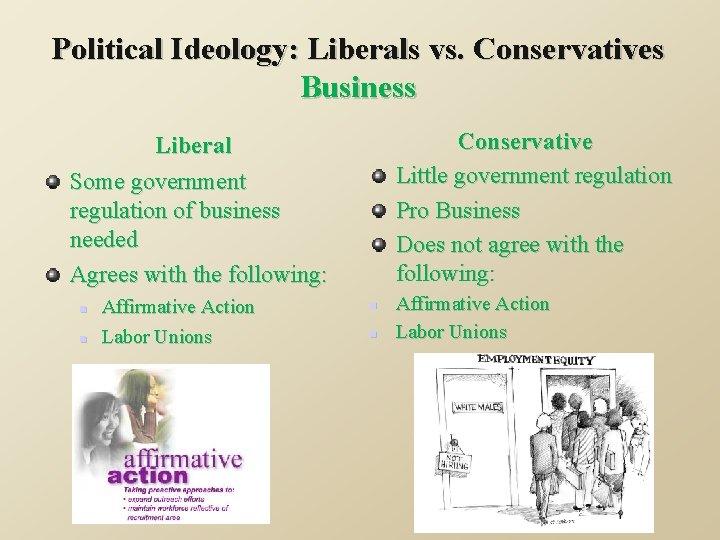Political Ideology: Liberals vs. Conservatives Business Conservative Little government regulation Pro Business Does not