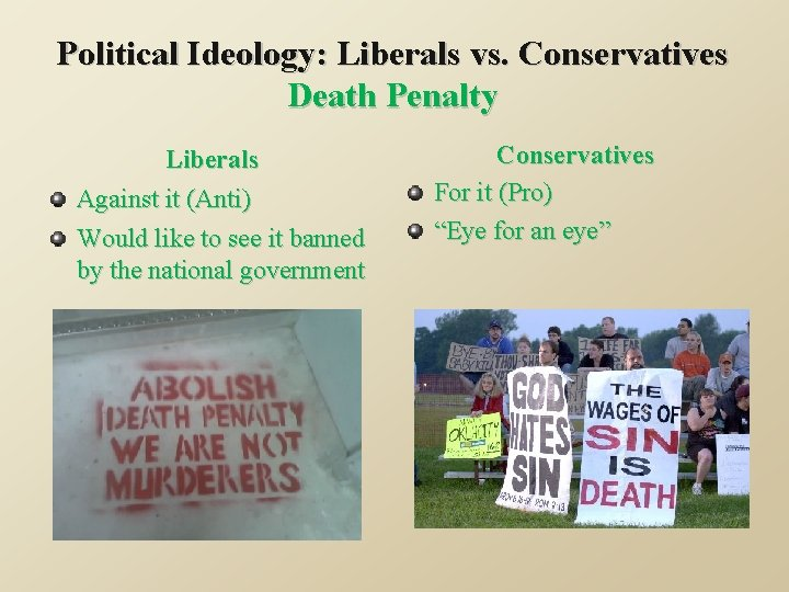 Political Ideology: Liberals vs. Conservatives Death Penalty Liberals Against it (Anti) Would like to