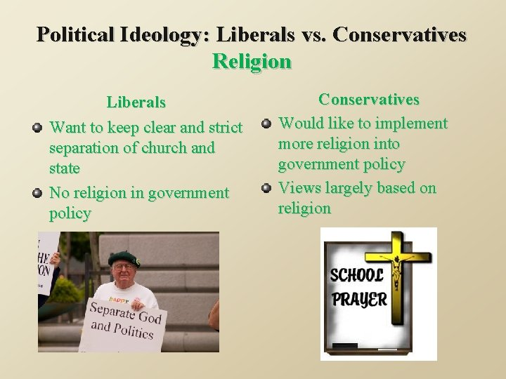Political Ideology: Liberals vs. Conservatives Religion Liberals Want to keep clear and strict separation
