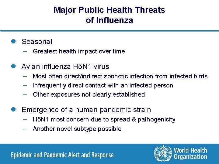 Major Public Health Threats of Influenza l Seasonal – Greatest health impact over time