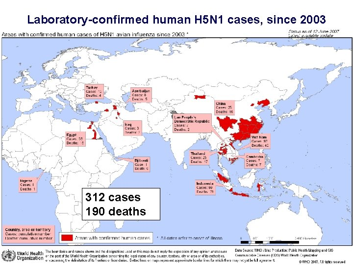 Laboratory-confirmed human H 5 N 1 cases, since 2003 312 cases 190 deaths
