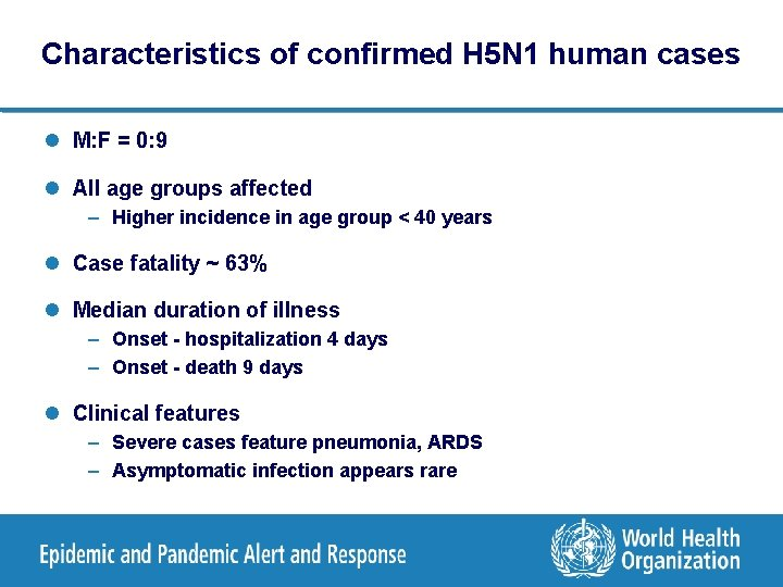 Characteristics of confirmed H 5 N 1 human cases l M: F = 0: