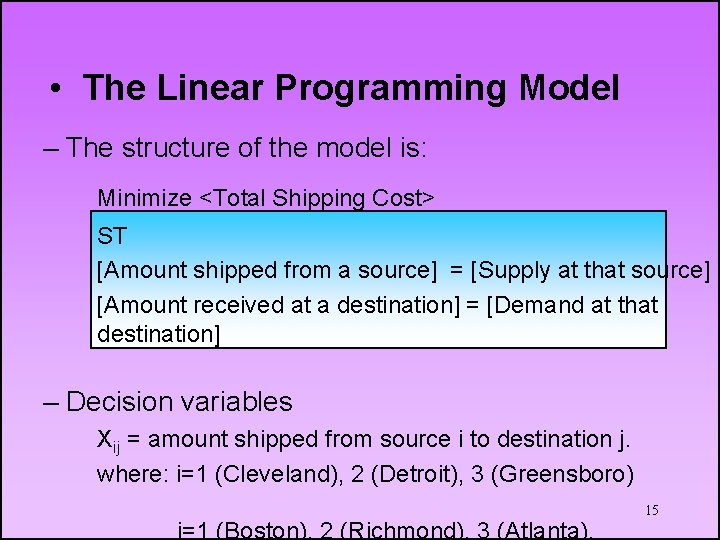 • The Linear Programming Model – The structure of the model is: Minimize