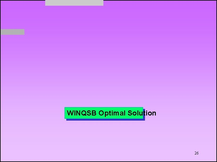 WINQSB Optimal Solution 26