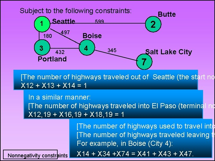 Subject to the following constraints: 599 1 Seattle 180 497 3 432 Portland Butte