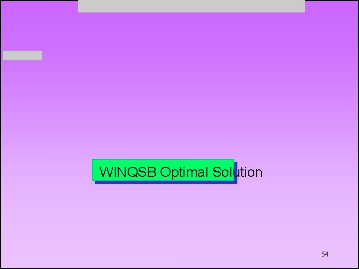 WINQSB Optimal Solution 54