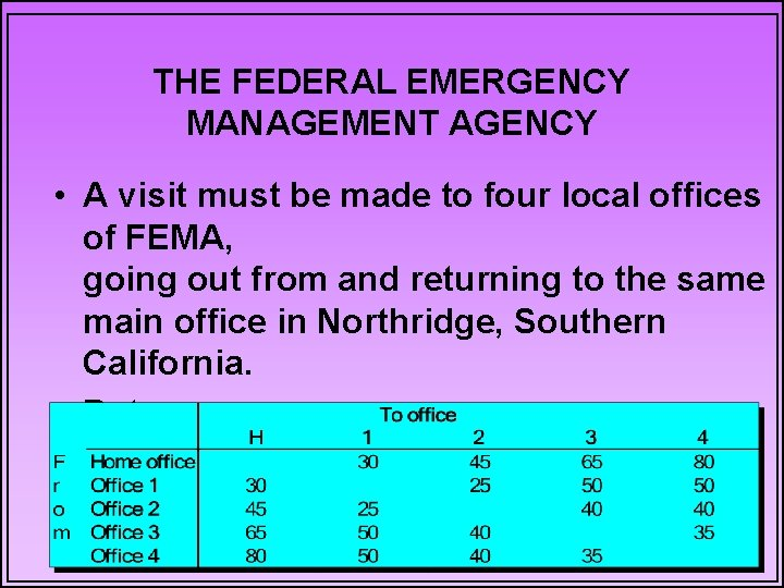 THE FEDERAL EMERGENCY MANAGEMENT AGENCY • A visit must be made to four local