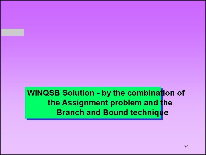 WINQSB Solution - by the combination of the Assignment problem and the Branch and