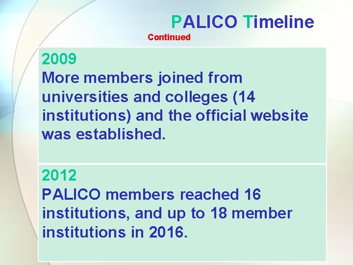 PALICO Timeline Continued 2009 More members joined from universities and colleges (14 institutions) and