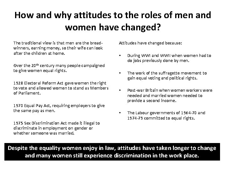 How and why attitudes to the roles of men and women have changed? The