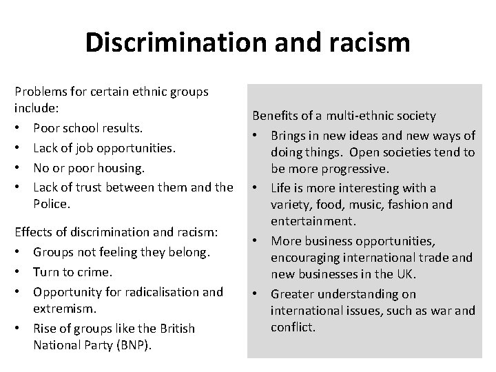 Discrimination and racism Problems for certain ethnic groups include: • Poor school results. •