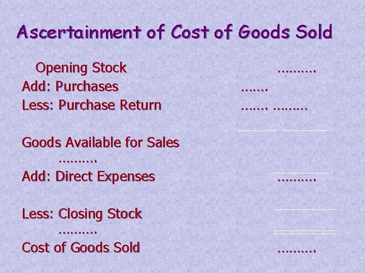 Ascertainment of Cost of Goods Sold Opening Stock Add: Purchases Less: Purchase Return ……….