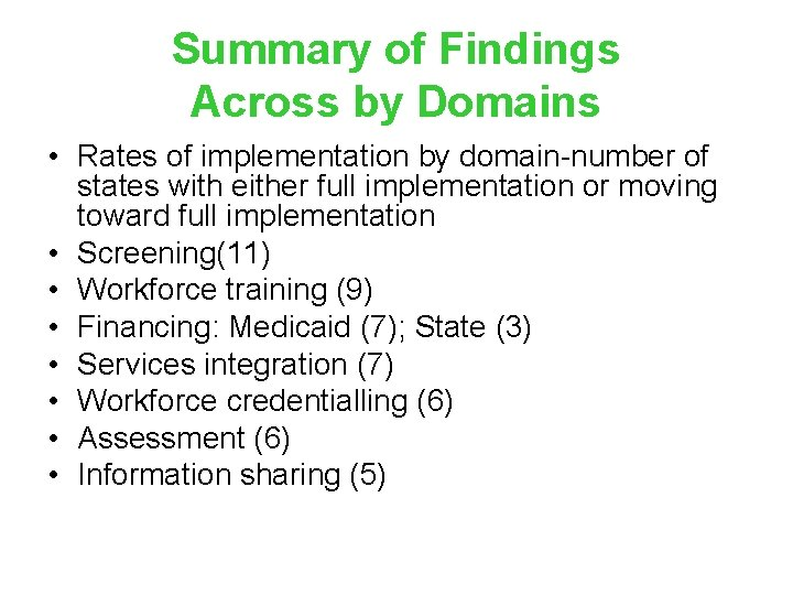 Summary of Findings Across by Domains • Rates of implementation by domain-number of states