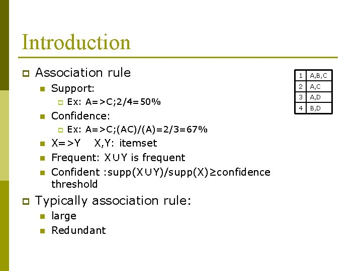 Introduction p Association rule n Support: p n Confidence: p n n n p