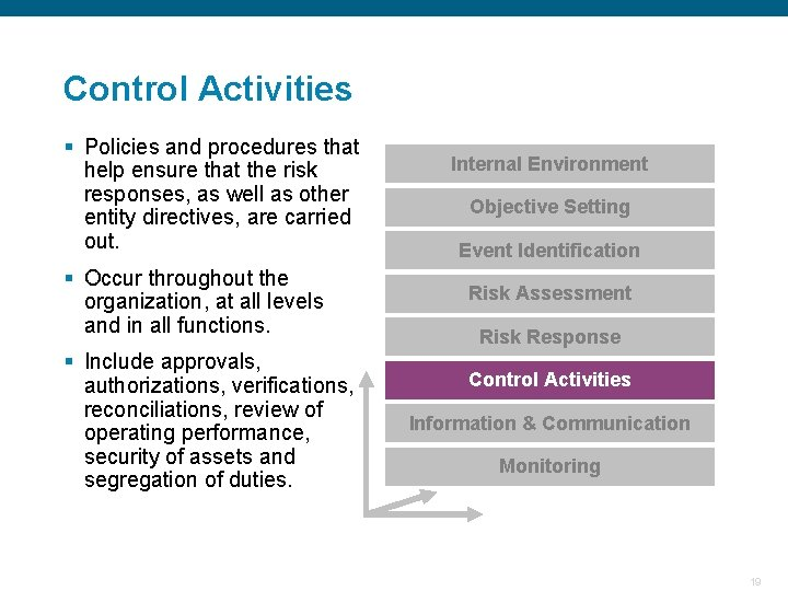 Control Activities § Policies and procedures that help ensure that the risk responses, as