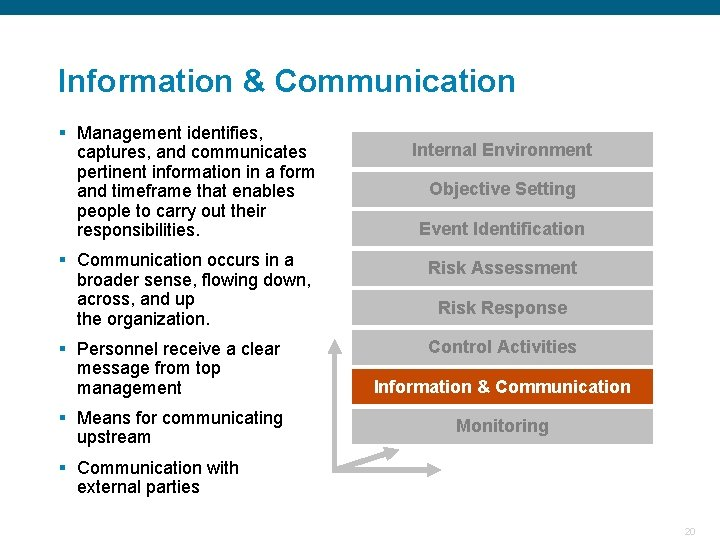 Information & Communication § Management identifies, captures, and communicates pertinent information in a form
