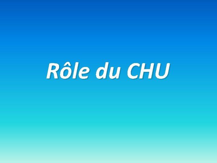 Rôle du CHU
