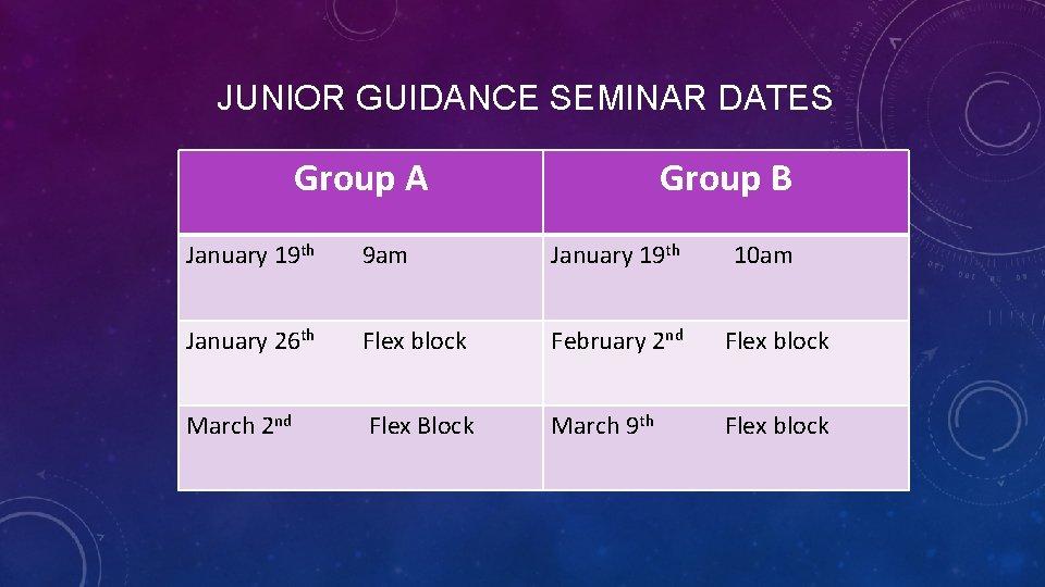 JUNIOR GUIDANCE SEMINAR DATES Group A Group B January 19 th 9 am January