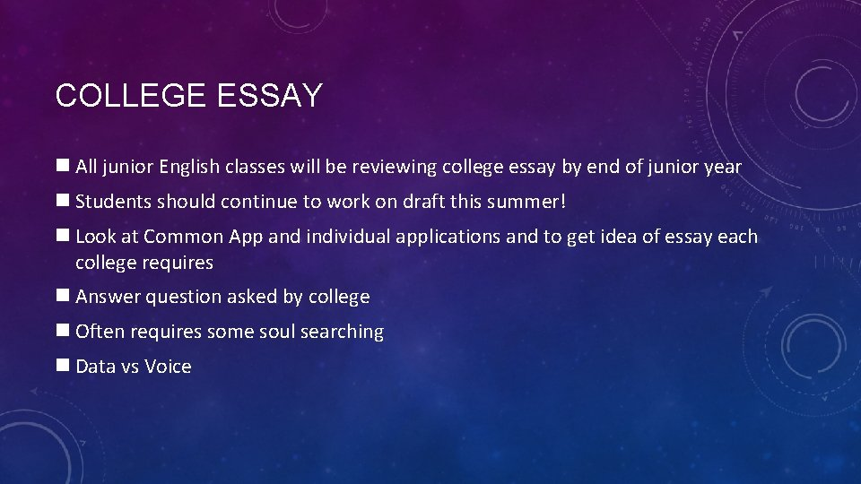 COLLEGE ESSAY n All junior English classes will be reviewing college essay by end