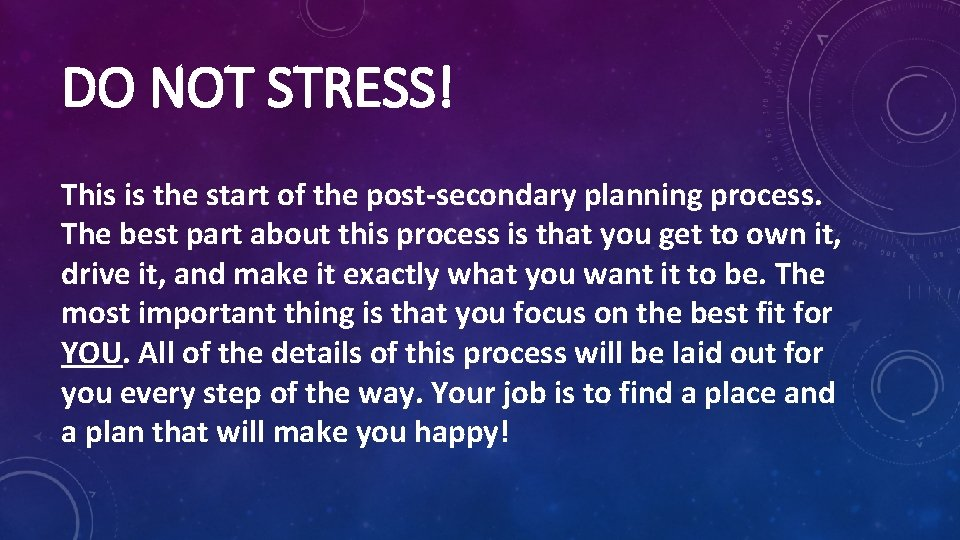 DO NOT STRESS! This is the start of the post-secondary planning process. The best