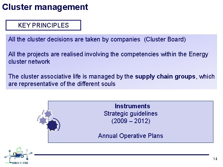 Cluster management KEY PRINCIPLES All the cluster decisions are taken by companies (Cluster Board)