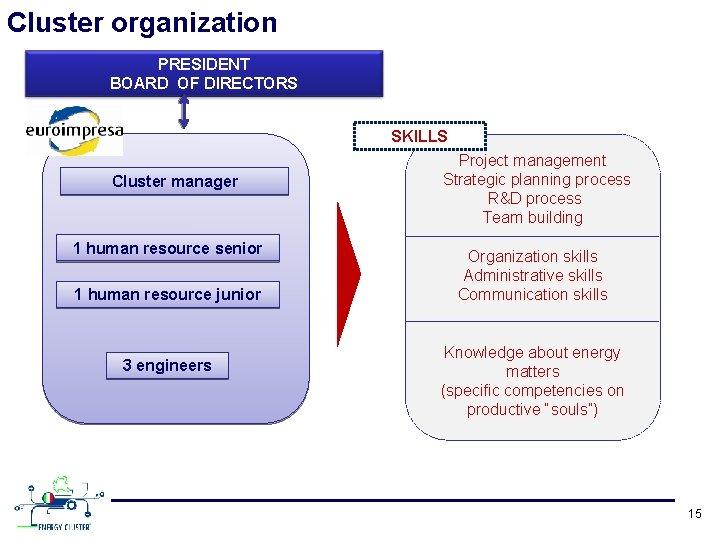 Cluster organization PRESIDENT BOARD OF DIRECTORS SKILLS Cluster manager 1 human resource senior 1