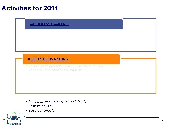 Activities for 2011 ACTION 5: TRAINING ACTION 6: FINANCING • Joint actions with technical