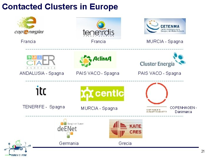 Contacted Clusters in Europe Francia ANDALUSIA - Spagna MURCIA - Spagna PAIS VACO -