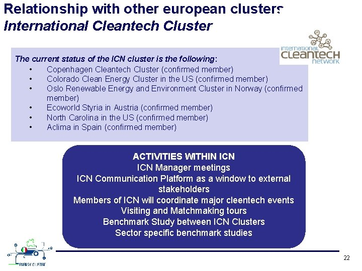 Relationship with other european clusters International Cleantech Cluster The current status of the ICN