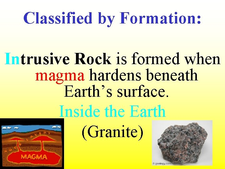 Classified by Formation: Intrusive Rock is formed when magma hardens beneath Earth's surface. Inside