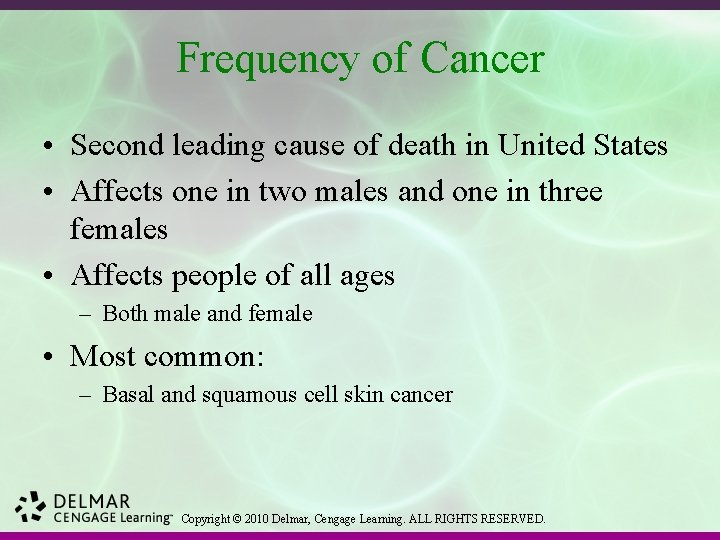 Frequency of Cancer • Second leading cause of death in United States • Affects
