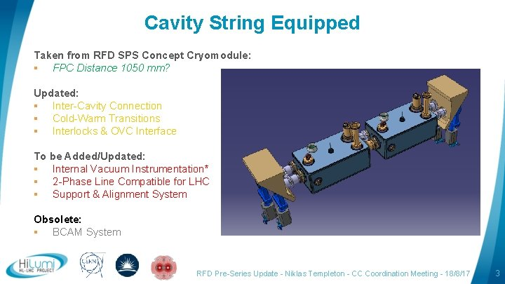 Cavity String Equipped Taken from RFD SPS Concept Cryomodule: § FPC Distance 1050 mm?