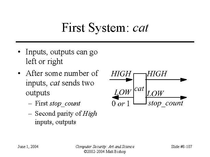 First System: cat • Inputs, outputs can go left or right • After some