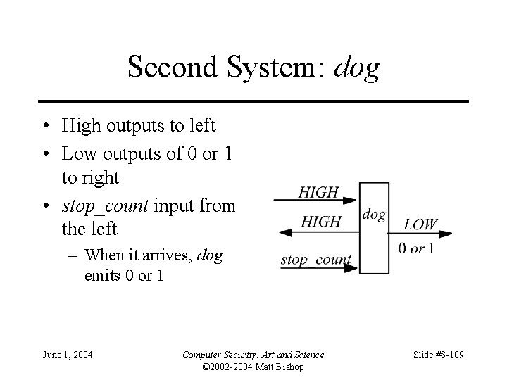Second System: dog • High outputs to left • Low outputs of 0 or