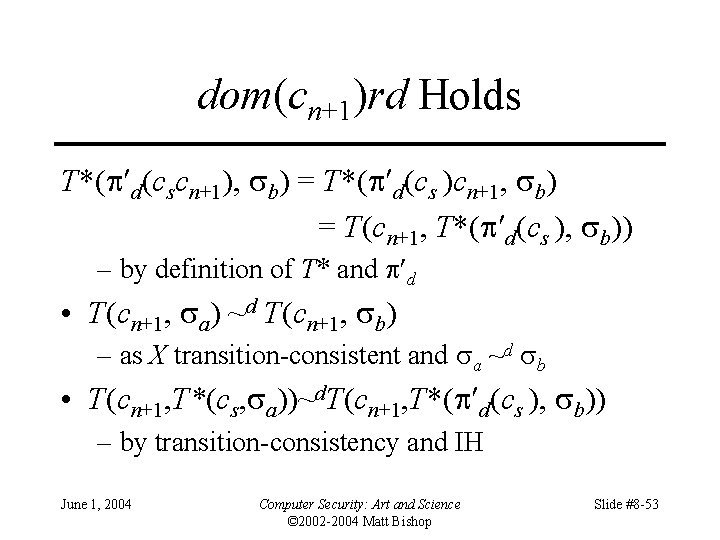 dom(cn+1)rd Holds T*( d(cscn+1), b) = T*( d(cs )cn+1, b) = T(cn+1, T*( d(cs