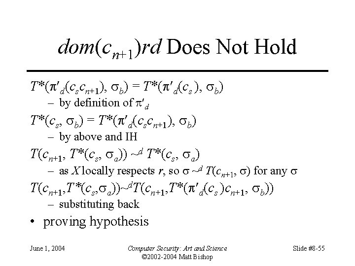 dom(cn+1)rd Does Not Hold T*( d(cscn+1), b) = T*( d(cs ), b) – by