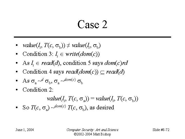 Case 2 value(li, T(c, b)) ≠ value(li, b) Condition 3: li write(dom(c)) As li