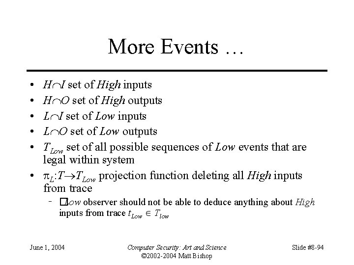 More Events … • • • H I set of High inputs H O