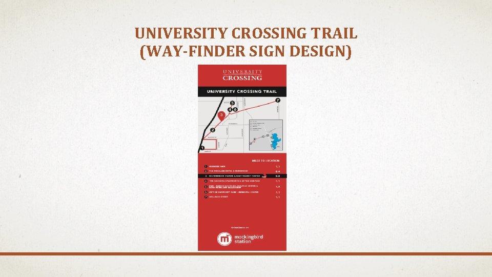 UNIVERSITY CROSSING TRAIL (WAY-FINDER SIGN DESIGN)