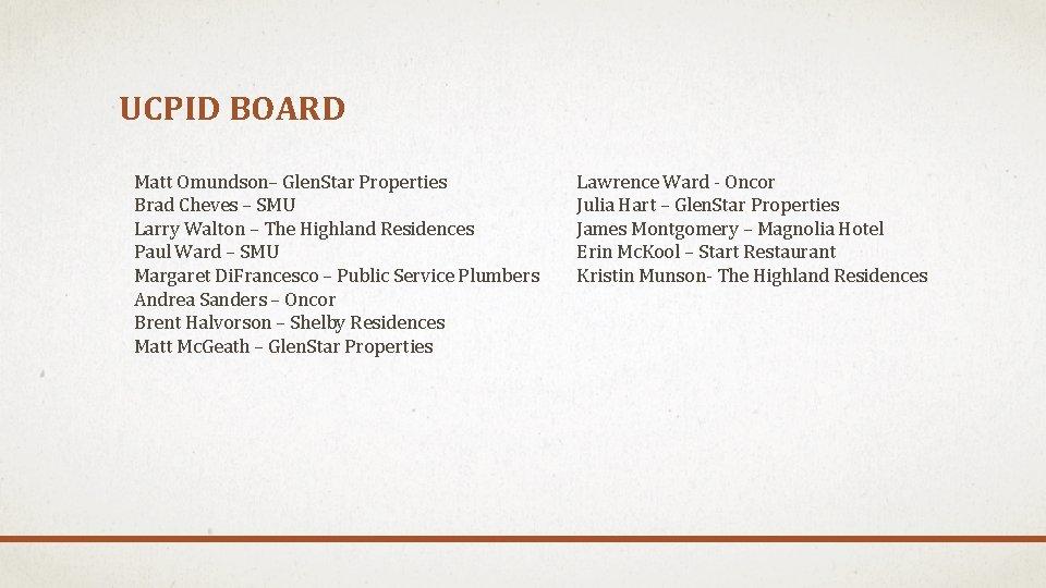 UCPID BOARD Matt Omundson– Glen. Star Properties Brad Cheves – SMU Larry Walton –