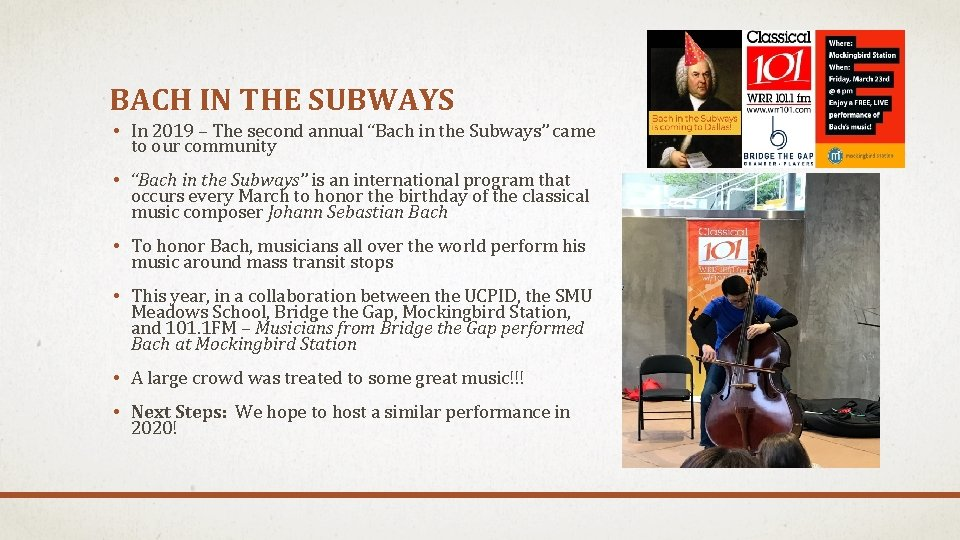 """BACH IN THE SUBWAYS • In 2019 – The second annual """"Bach in the"""