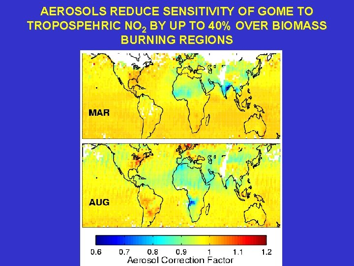 AEROSOLS REDUCE SENSITIVITY OF GOME TO TROPOSPEHRIC NO 2 BY UP TO 40% OVER