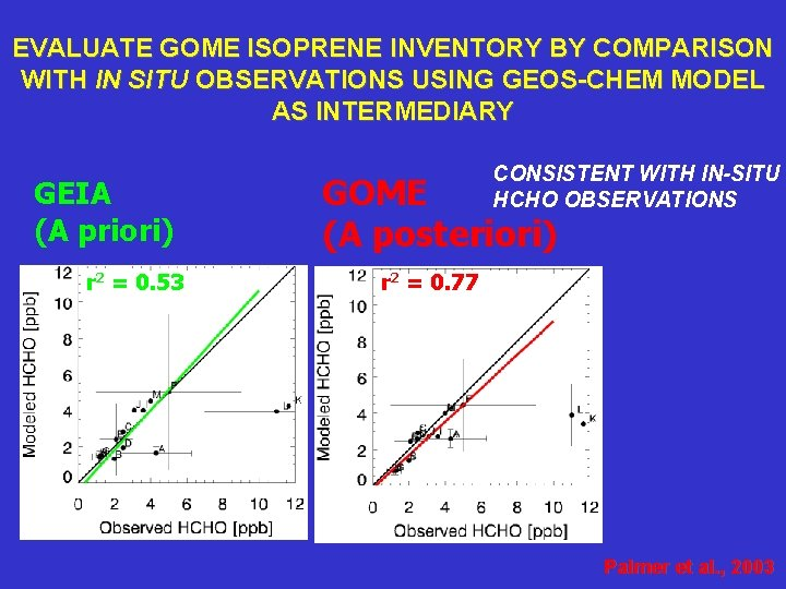 EVALUATE GOME ISOPRENE INVENTORY BY COMPARISON WITH IN SITU OBSERVATIONS USING GEOS-CHEM MODEL AS