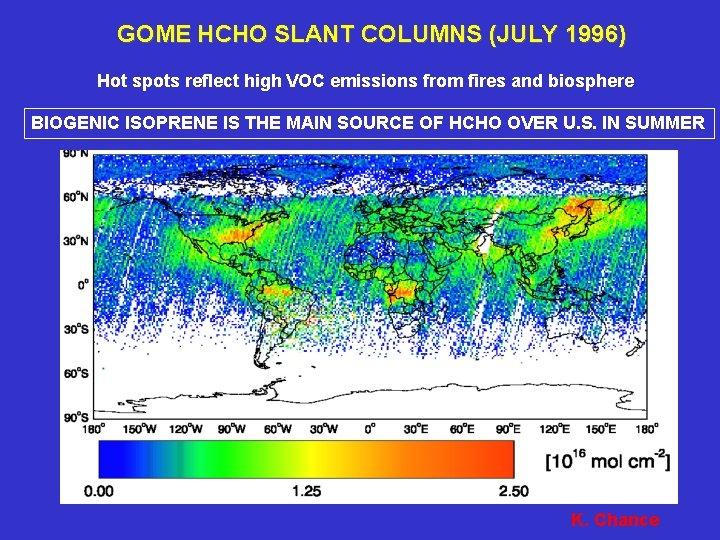 GOME HCHO SLANT COLUMNS (JULY 1996) Hot spots reflect high VOC emissions from fires
