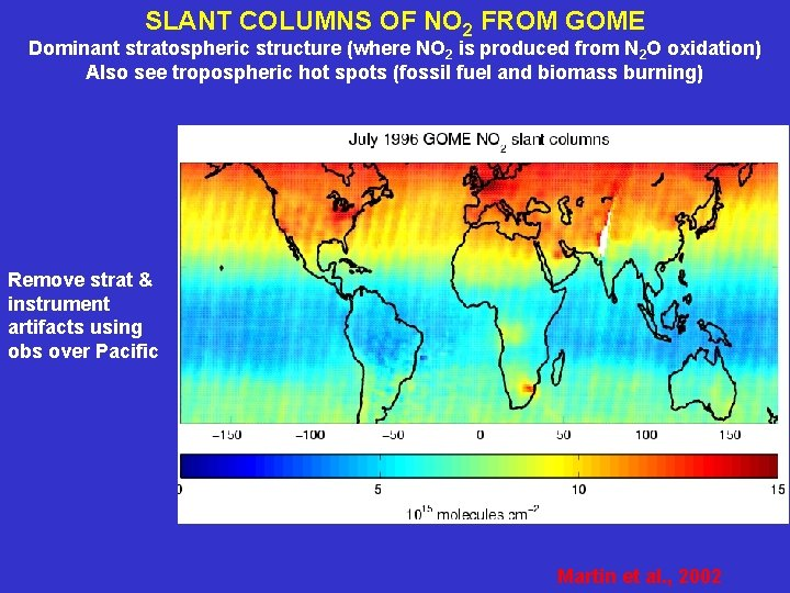 SLANT COLUMNS OF NO 2 FROM GOME Dominant stratospheric structure (where NO 2 is